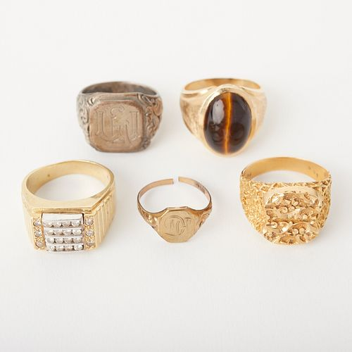 Grp: 5 Gold & Silver Men's Rings
