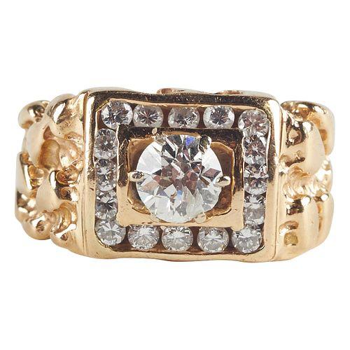 14K Gold European Cut Diamond Ring