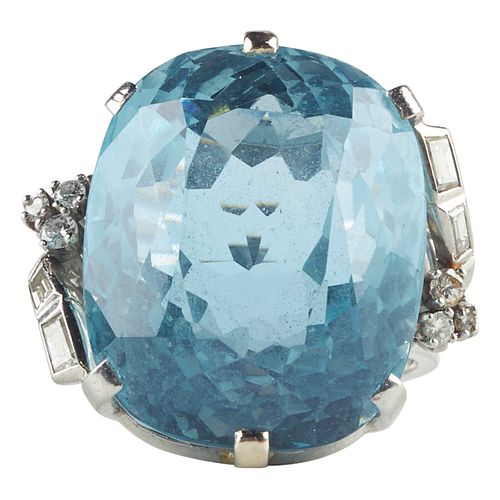 Women's Platinum Diamond & Aquamarine Fashion Ring