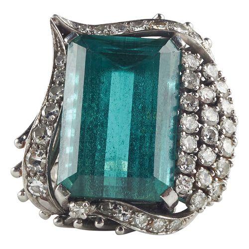 Platinum Diamond & Green Tourmaline Ring