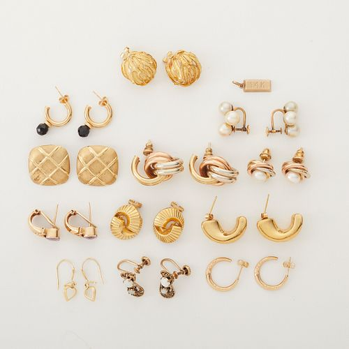 Group of 14K Gold & Gold Toned Earrings