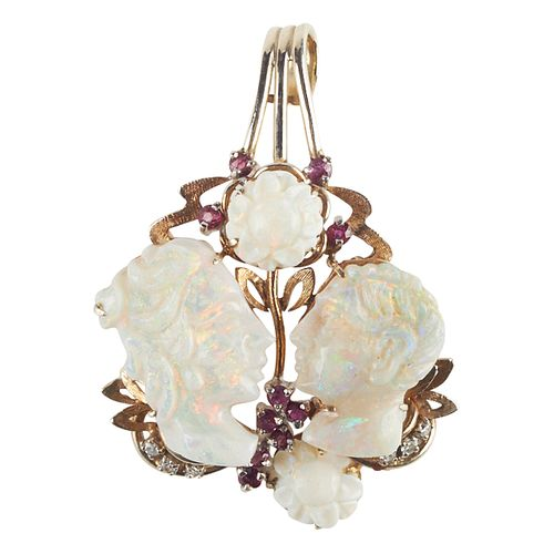 14K Gold Ruby Diamond Opal Pendant