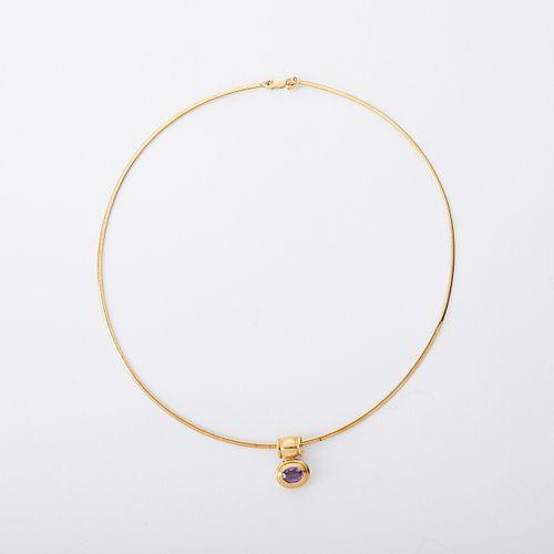 14K Gold Amethyst Pendant Necklace