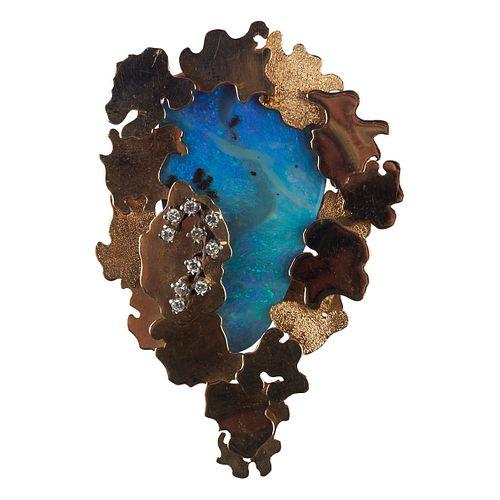 18K Gold Opal & Diamond Pendant