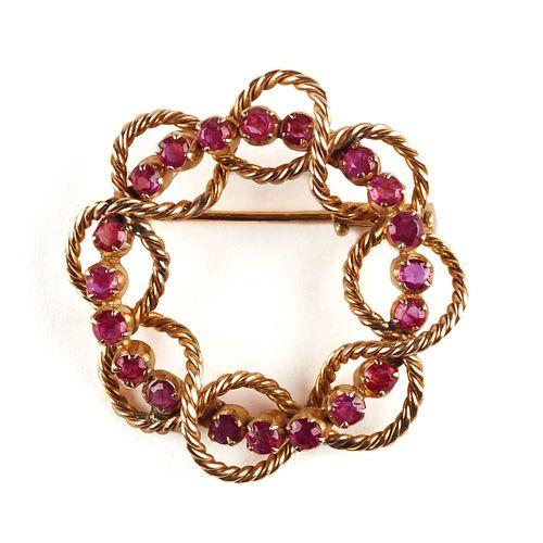20th c. 14K Gold Ruby Knot Brooch