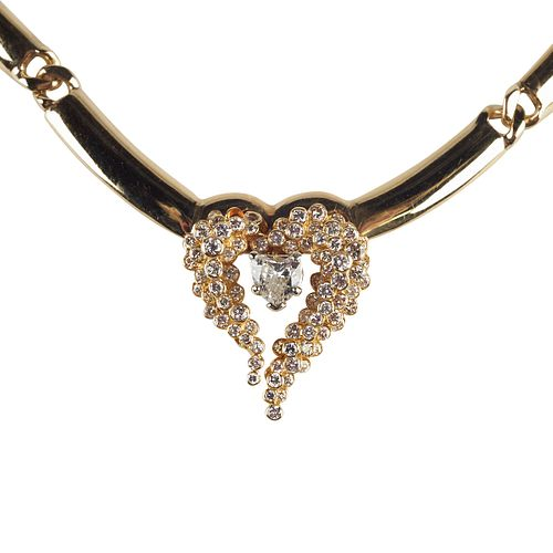 14K Gold Necklace with Heart Diamonds