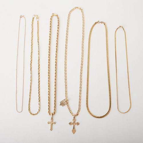 Grp: 6 14K Gold Necklaces