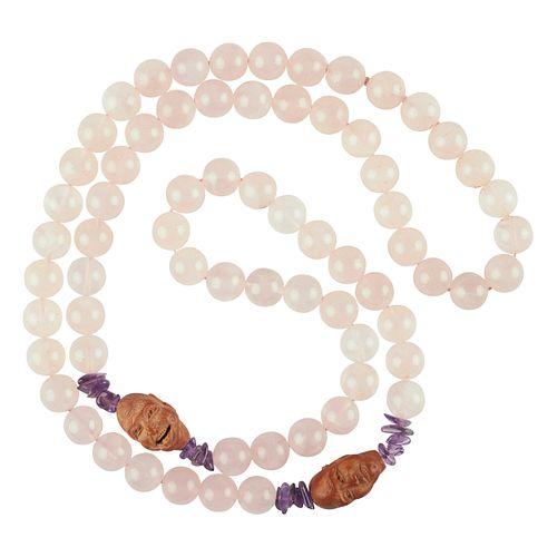 Rose Quartz Amethyst Beaded Necklace