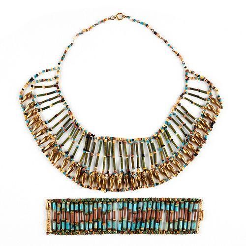 20th c. Egyptian Revival Faience Necklace & Bracelet