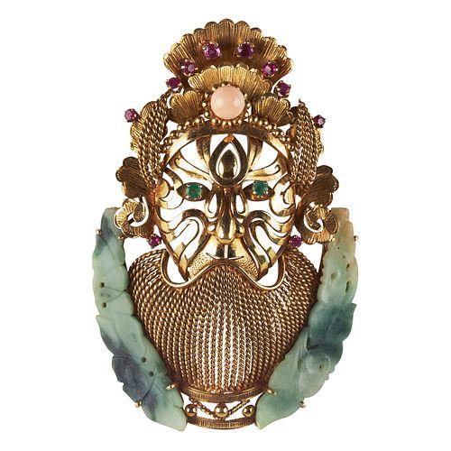 18k Gold Jade Jeweled Face Mask Brooch