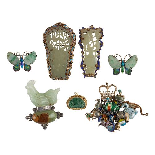 Grp: 7 Chinese Jade & Enameled Silver Jewelry
