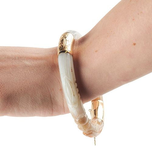 Lavender and Russet Jade Bracelet w/ Gold Clasp