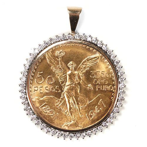 1947 Fifty Peso Coin & Diamond Pendant