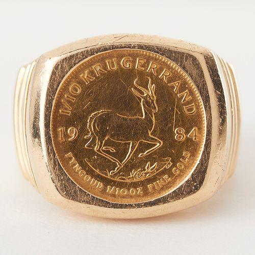 14K Gold Krugerrand Ring