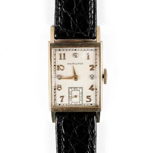 Hamilton 14K Gold Square Wristwatch
