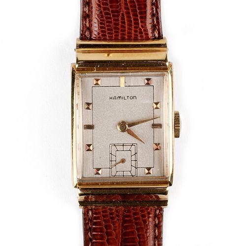 Hamilton 18K Gold Square Wristwatch