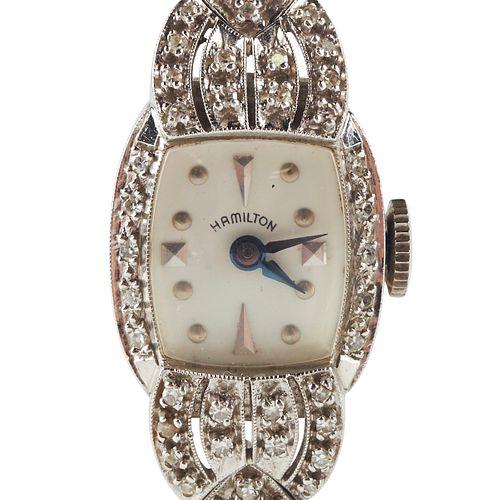 Hamilton 14K White Gold Diamond Watch Bracelet