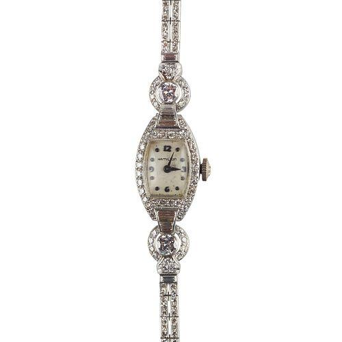 Hamilton Platinum Diamond Bracelet Wrist Watch