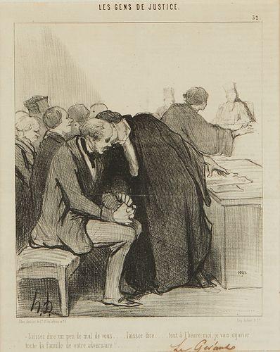 """Pair of Honore Daumier """"Les Gens de Justice"""" Lithographs"""
