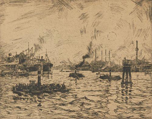 Hans Kleiber Harbor Scene Etching