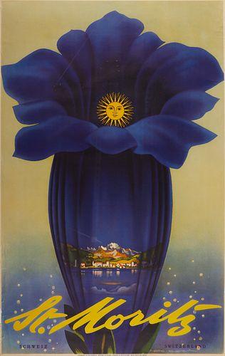 Leo Keck St. Moritz Switzerland Poster 1952