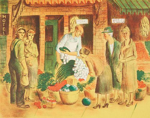 "Dorothea Lau MN WPA Art Project Lithograph - ""Vegetable Market"""