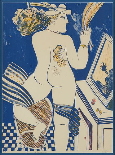 Alekos Fassianos Blue Woman at Toilet Print