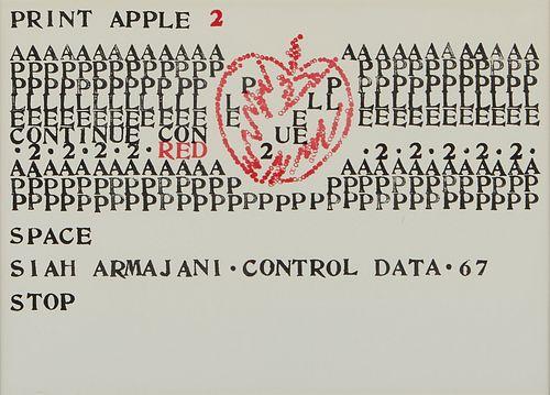 """Siah Armajani """"Print Apple 2"""" Screenprint"""