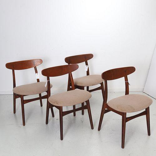 Hans Wegner, (4) model CH-30 teak side chairs