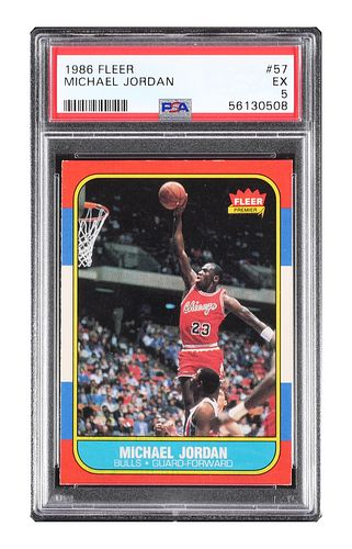 1986 Fleer Michael Jordan Rookie Card #57 PSA 5