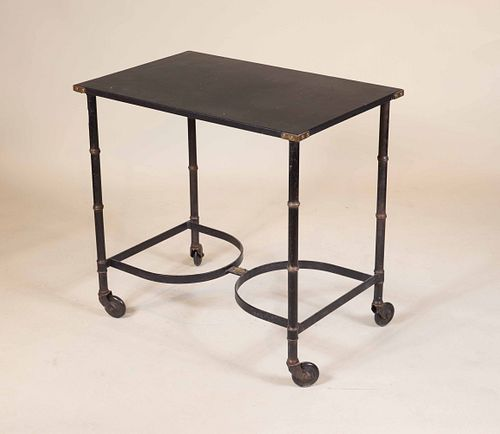 Modern Leather Top and Metal Rolling Table