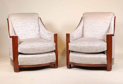Pair of Art Deco Style Mahogany Club Chairs