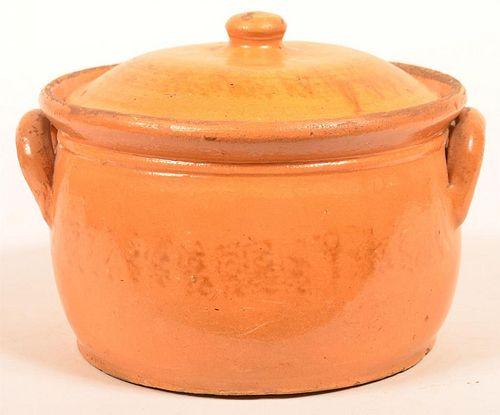 Glazed Redware Pottery Covered Pot.