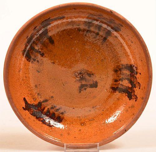 PA Mottle Glazed Redware Pottery Pie Plate.