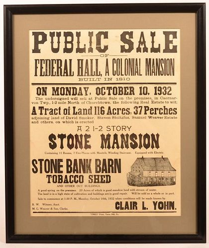 Public Sale Broadside of Stone Mansion and Barn