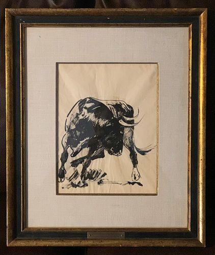 Edward Borein (1873-1945) Raging Bull Ink on Paper