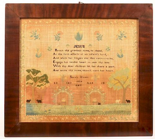 Early 19th Century Religious Text Sampler.