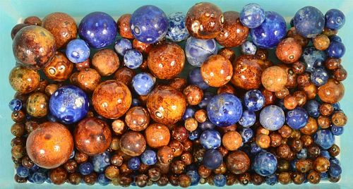Lot of Blue and Brown Glazed Pottery Marbles.