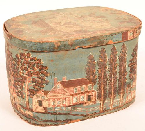 19th Century Wall Paper Covered Bentwood Box.