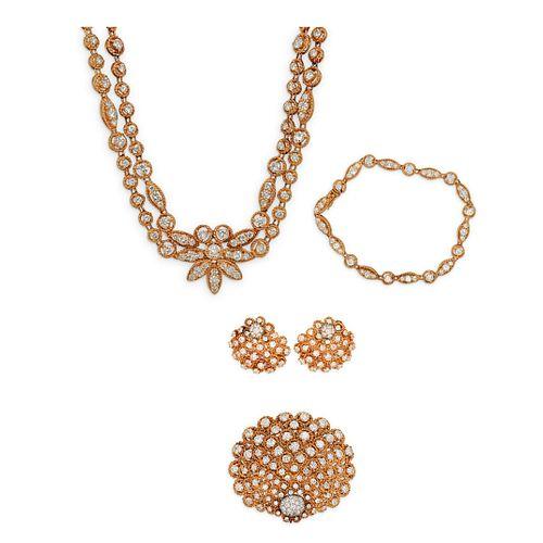 (4 Pc) Vintage Diamond and Gold Jewelry Set