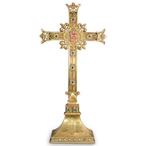 Antique Gorham and  Co. Brass and Jeweled Altar Cross