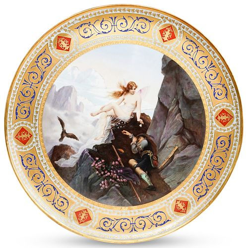 """Large Royal Vienna """"Fairy and The Hunter"""" Porcelain Charger"""