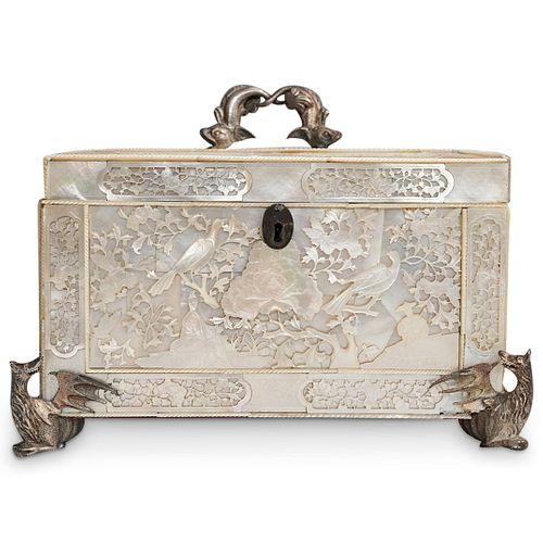 Antique Chinese Mother Of Pearl and  Silver Tea Caddy