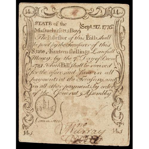 September 17, 1776 Historic Paul Revere Engraved Massachusetts 14s Sword In Hand