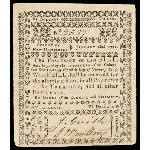 Colonial Currency, January 26, 1776 New Hampshire Six Dollars Portsmouth Issue