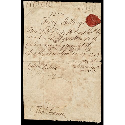 Colonial Currency, North Carolina November 27, 1729 ACT. GENUINE 40s Very Fine
