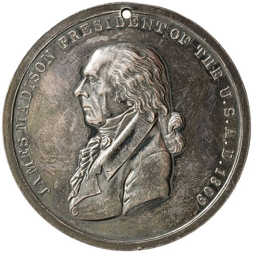 1809 Silver James Madison Indian Peace Medal Finest Known AU. 51mm ANACS Genuine