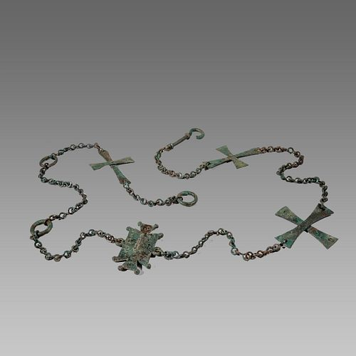 Ancient Byzantine Bronze Chain with Crosses Ca. 8th Cent. A.D.