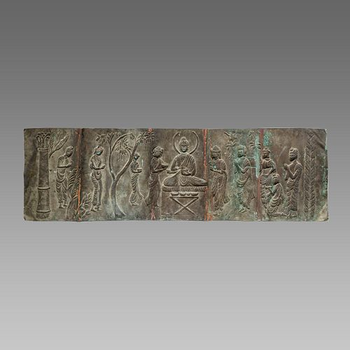 Large Antique Indian Copper Panel with Buddha Scene.