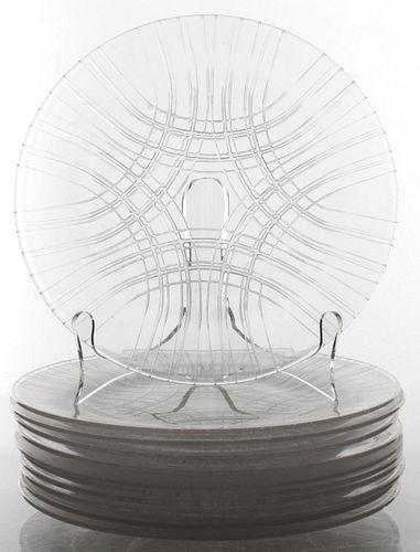 Lalique Art Glass Luncheon Plates, Set of 11